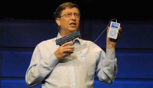 Bill Gates Shooting THe iPod
